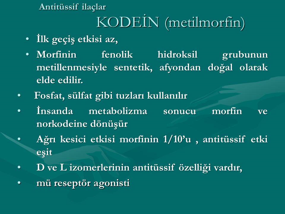 Antitüssif ilaçlar KODEİN (metilmorfin)