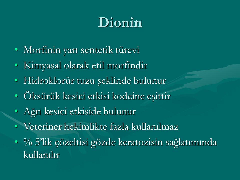Dionin Morfinin yarı sentetik türevi Kimyasal olarak etil morfindir