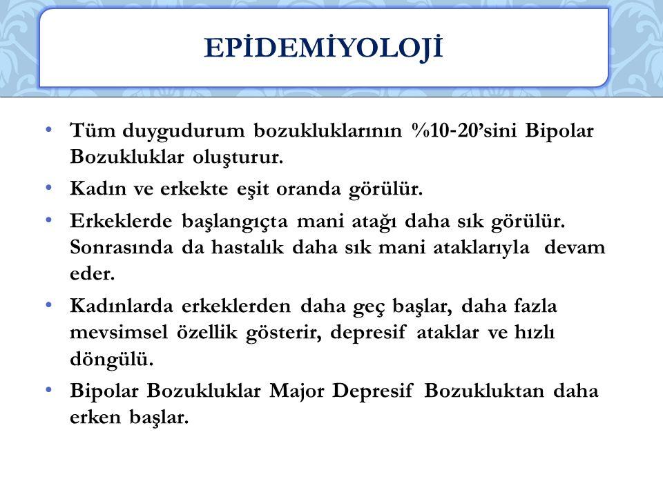 EPİDEMİYOLOJİ Tüm duygudurum bozukluklarının %10‐20'sini Bipolar Bozukluklar oluşturur. Kadın ve erkekte eşit oranda görülür.