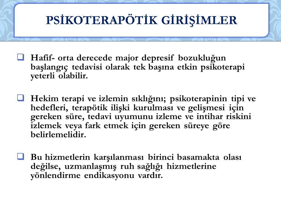 PSİKOTERAPÖTİK GİRİŞİMLER