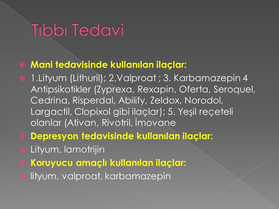 Tıbbı Tedavi Mani tedavisinde kullanılan ilaçlar: