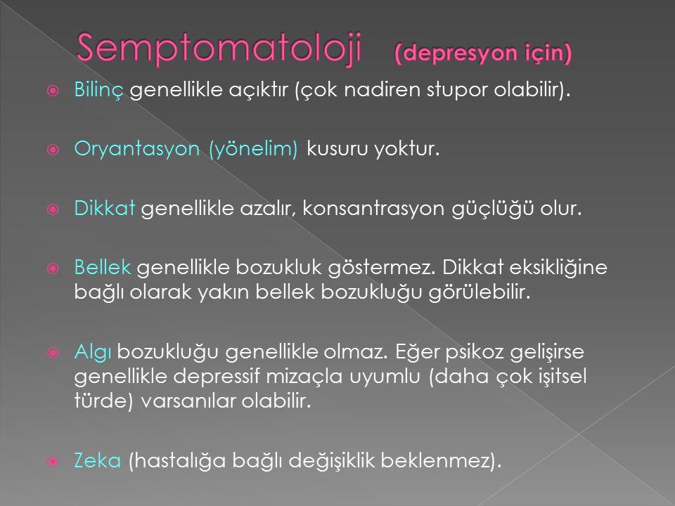 Semptomatoloji (depresyon için)
