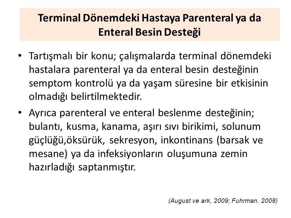 Terminal Dönemdeki Hastaya Parenteral ya da Enteral Besin Desteği