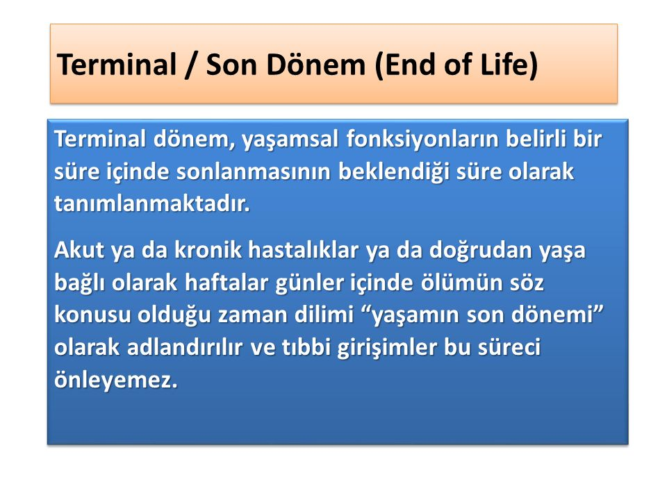 Terminal / Son Dönem (End of Life)