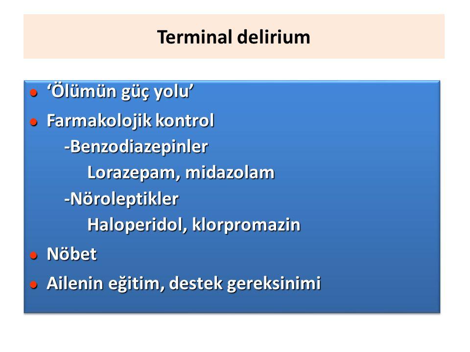 Terminal delirium 'Ölümün güç yolu' Farmakolojik kontrol