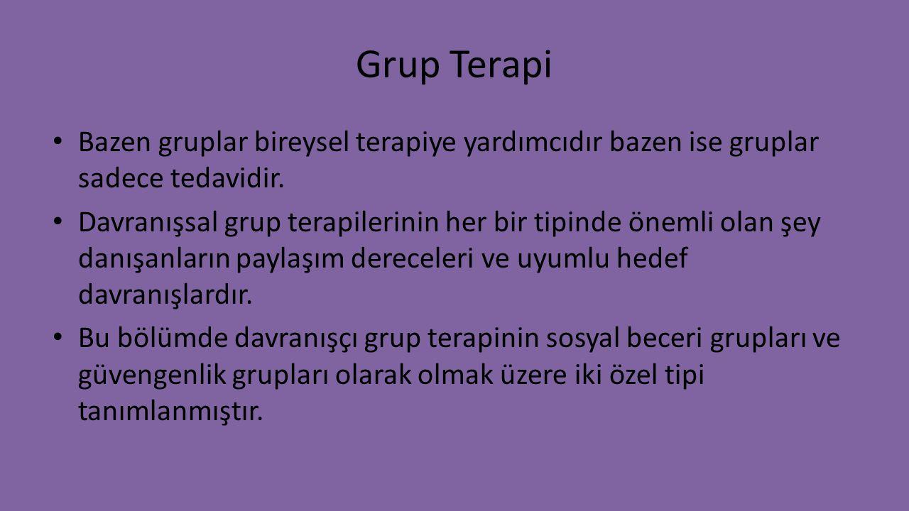 Grup Terapi Bazen gruplar bireysel terapiye yardımcıdır bazen ise gruplar sadece tedavidir.