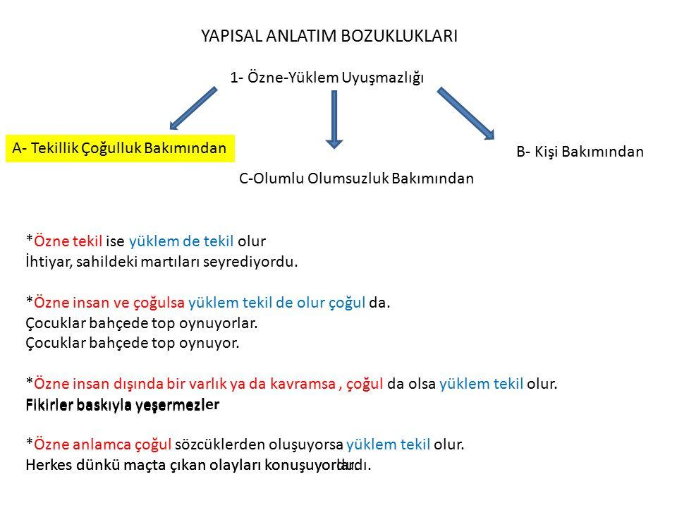 YAPISAL ANLATIM BOZUKLUKLARI