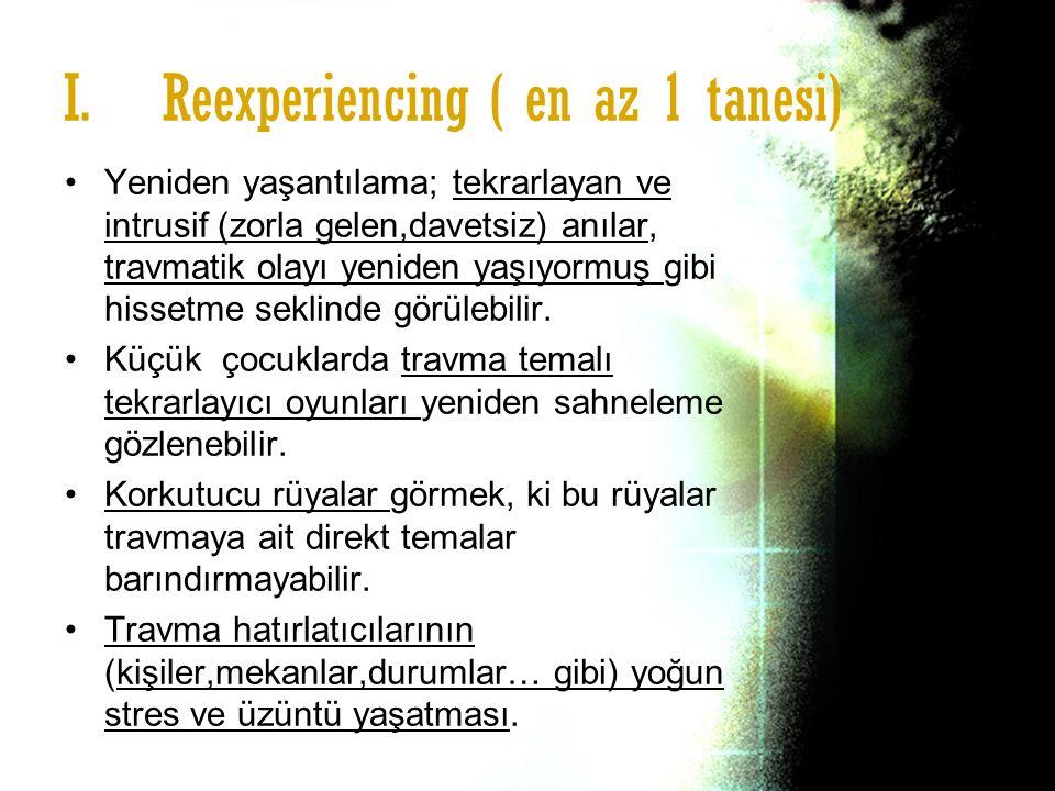 Reexperiencing ( en az 1 tanesi)