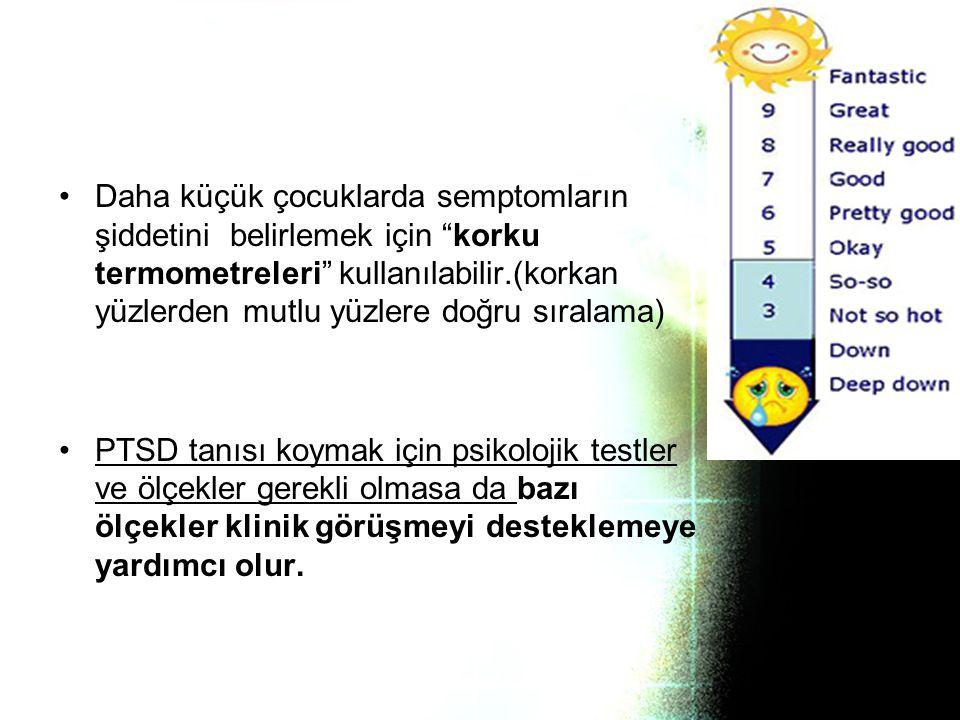 Daha küçük çocuklarda semptomların şiddetini belirlemek için korku termometreleri kullanılabilir.(korkan yüzlerden mutlu yüzlere doğru sıralama)