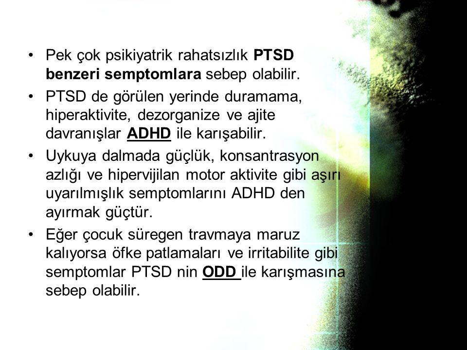 Pek çok psikiyatrik rahatsızlık PTSD benzeri semptomlara sebep olabilir.