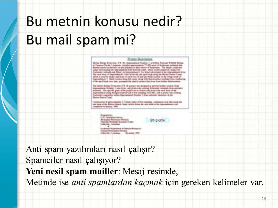 Bu metnin konusu nedir Bu mail spam mi