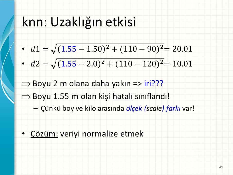 knn: Uzaklığın etkisi Boyu 2 m olana daha yakın => iri