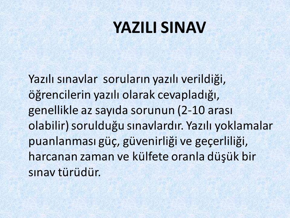 YAZILI SINAV