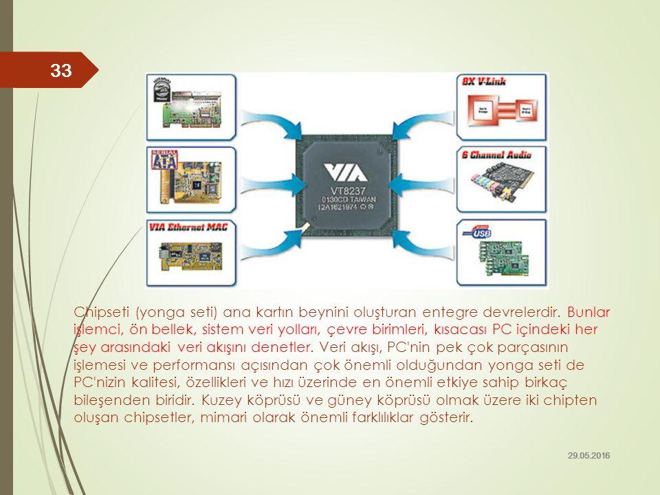 Chipseti (yonga seti) ana kartın beynini oluşturan entegre devrelerdir