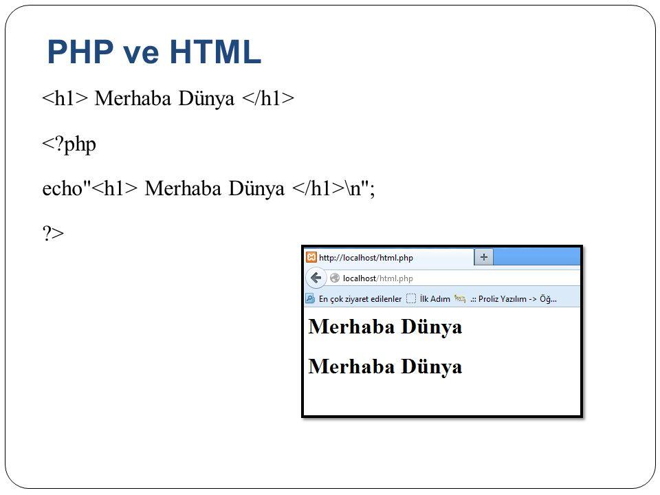 PHP ve HTML <h1> Merhaba Dünya </h1> < php echo <h1> Merhaba Dünya </h1>\n ; >