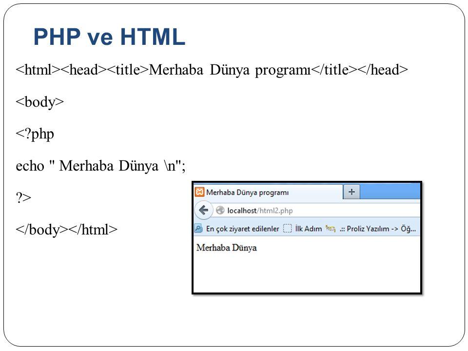 PHP ve HTML <html><head><title>Merhaba Dünya programı</title></head> <body> < php echo Merhaba Dünya \n ; > </body></html>
