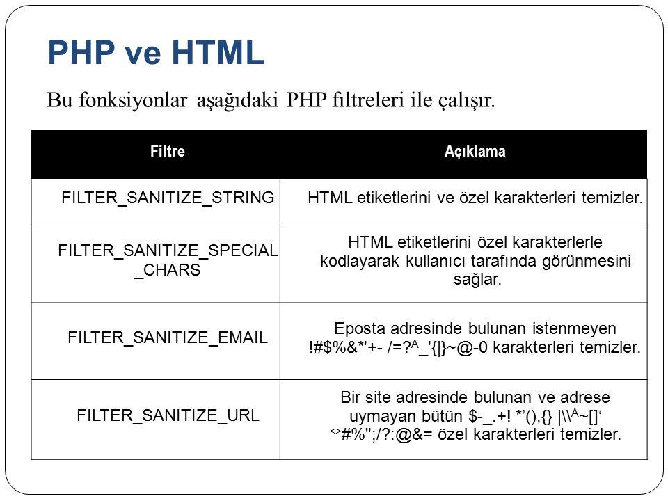 PHP ve HTML Bu fonksiyonlar aşağıdaki PHP fıltreleri ile çalışır.