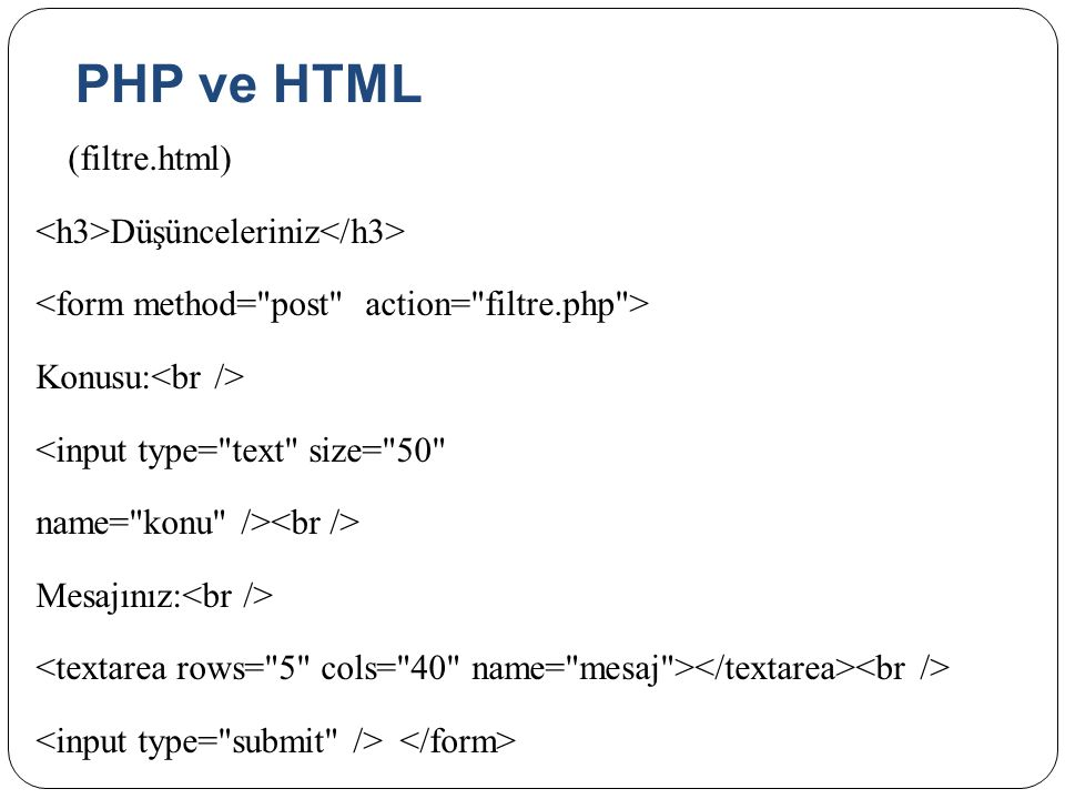 PHP ve HTML <h3>Düşünceleriniz</h3>