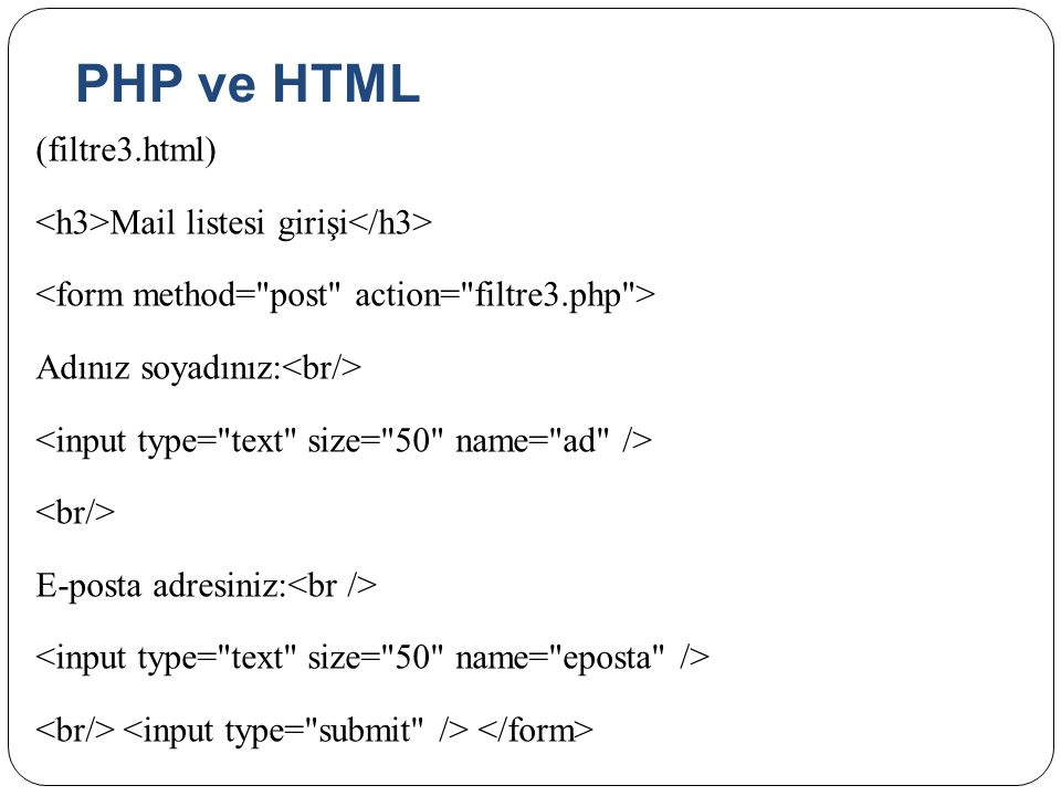 PHP ve HTML