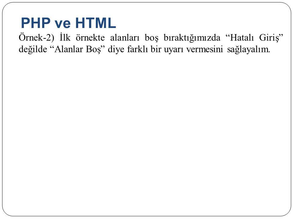 PHP ve HTML Örnek-2) İlk örnekte alanları boş bıraktığımızda Hatalı Giriş değilde Alanlar Boş diye farklı bir uyarı vermesini sağlayalım.