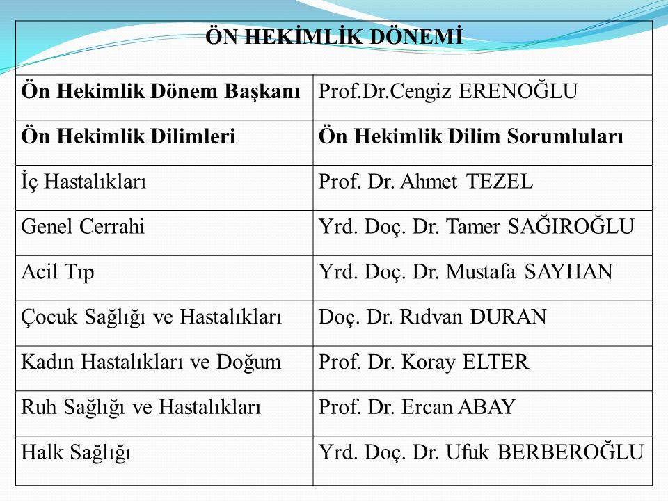 ÖN HEKİMLİK DÖNEMİ Ön Hekimlik Dönem Başkanı. Prof.Dr.Cengiz ERENOĞLU. Ön Hekimlik Dilimleri. Ön Hekimlik Dilim Sorumluları.