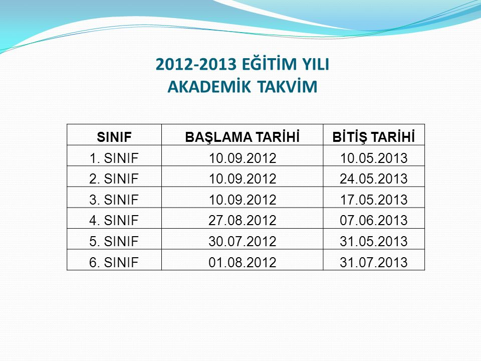 2012-2013 EĞİTİM YILI AKADEMİK TAKVİM