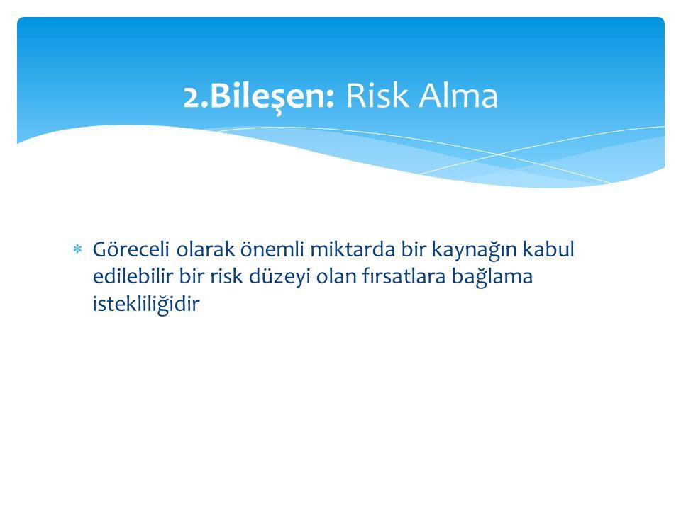 2.Bileşen: Risk Alma Göreceli olarak önemli miktarda bir kaynağın kabul edilebilir bir risk düzeyi olan fırsatlara bağlama istekliliğidir.