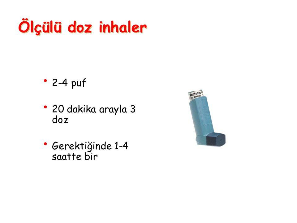 Ölçülü doz inhaler 2-4 puf 20 dakika arayla 3 doz