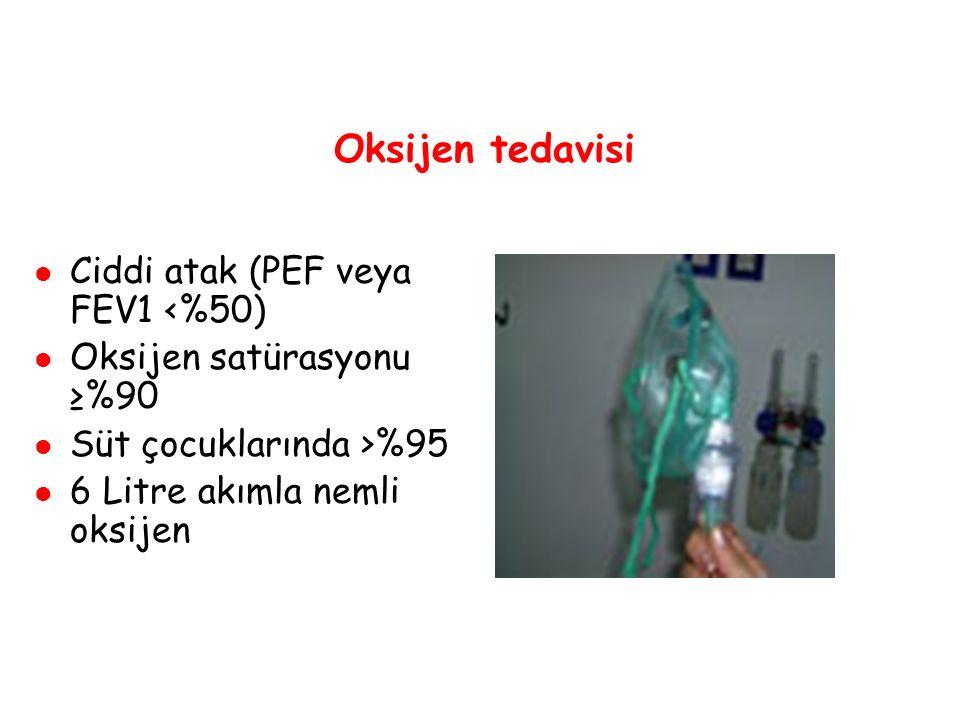Oksijen tedavisi Ciddi atak (PEF veya FEV1 <%50)