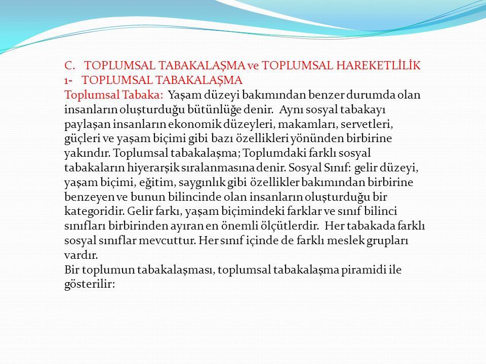 C. TOPLUMSAL TABAKALAŞMA ve TOPLUMSAL HAREKETLİLİK