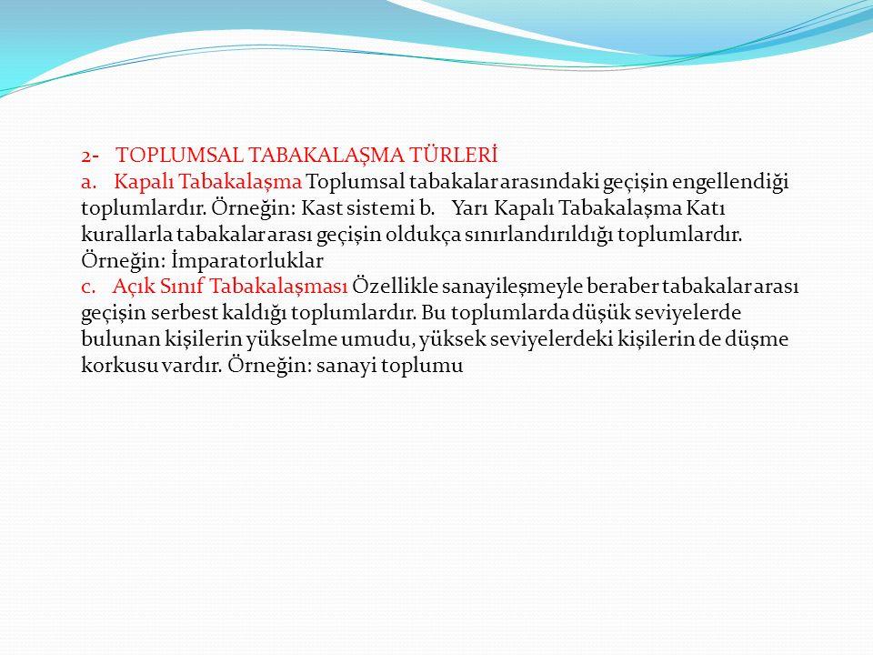 2- TOPLUMSAL TABAKALAŞMA TÜRLERİ