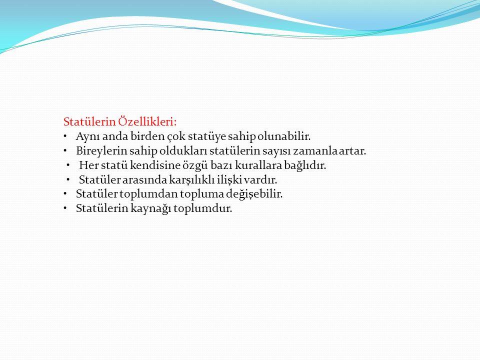 Statülerin Özellikleri: