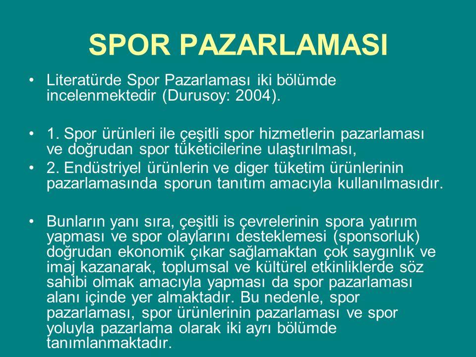 SPOR PAZARLAMASI Literatürde Spor Pazarlaması iki bölümde incelenmektedir (Durusoy: 2004).