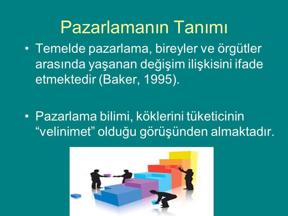 Pazarlamanın Tanımı Temelde pazarlama, bireyler ve örgütler arasında yaşanan değişim ilişkisini ifade etmektedir (Baker, 1995).