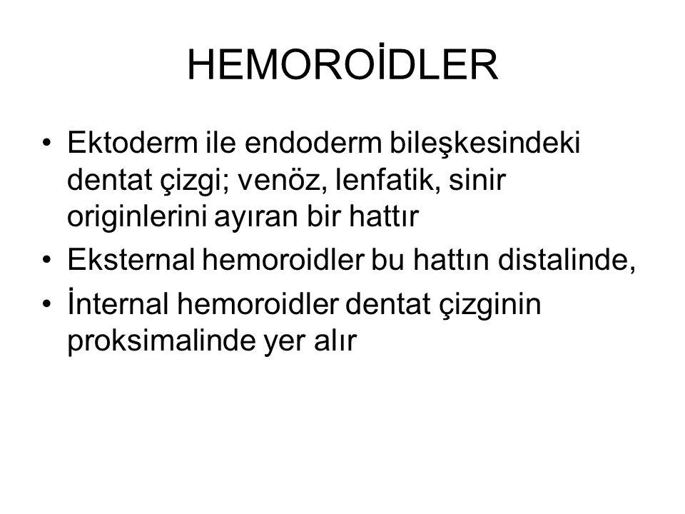 HEMOROİDLER Ektoderm ile endoderm bileşkesindeki dentat çizgi; venöz, lenfatik, sinir originlerini ayıran bir hattır.