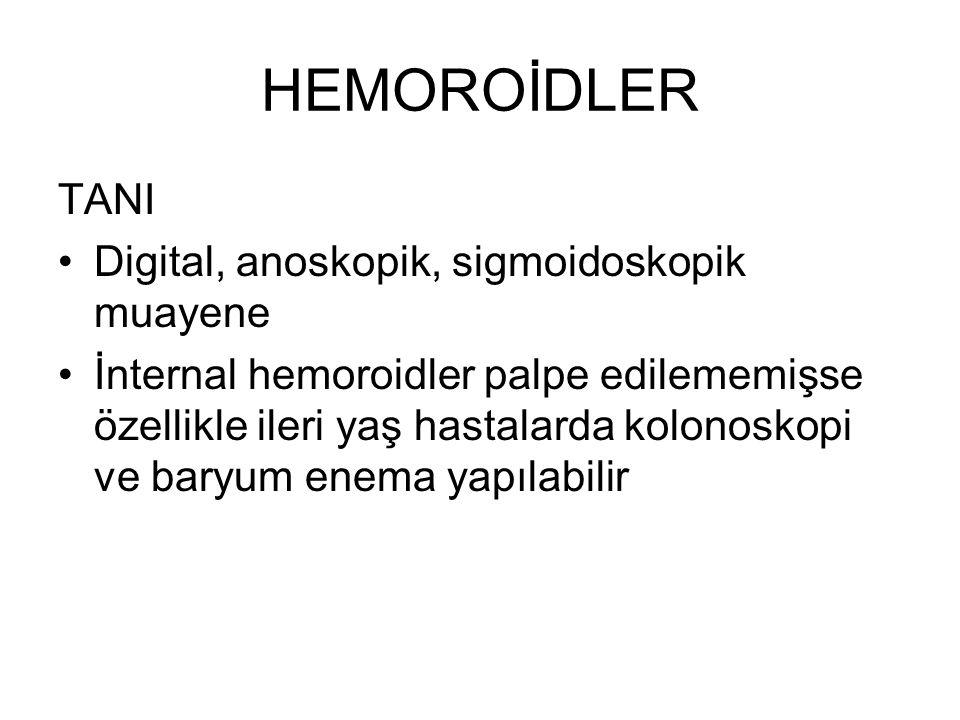 HEMOROİDLER TANI Digital, anoskopik, sigmoidoskopik muayene