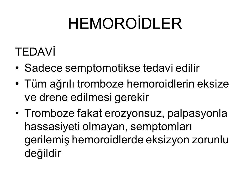 HEMOROİDLER TEDAVİ Sadece semptomotikse tedavi edilir