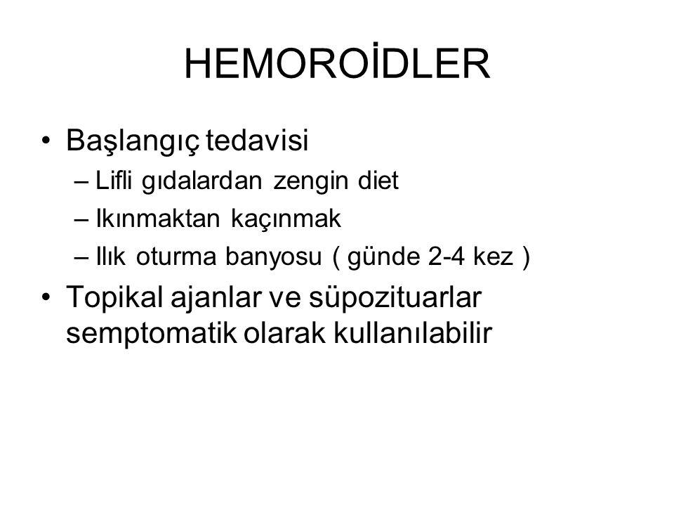 HEMOROİDLER Başlangıç tedavisi