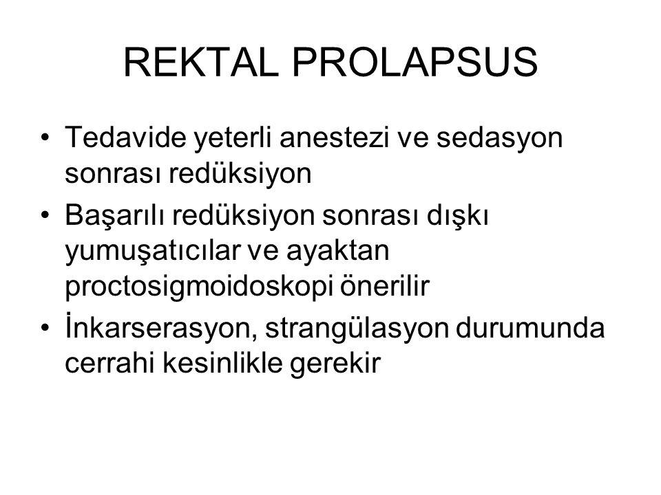 REKTAL PROLAPSUS Tedavide yeterli anestezi ve sedasyon sonrası redüksiyon.