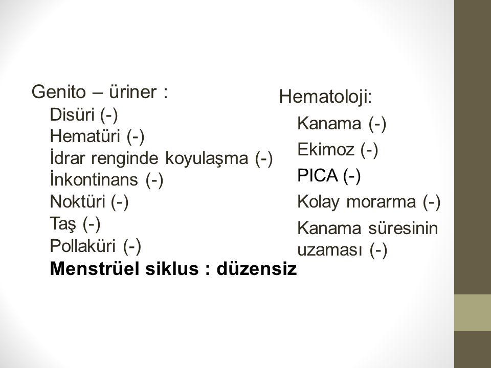 Menstrüel siklus : düzensiz Hematoloji: