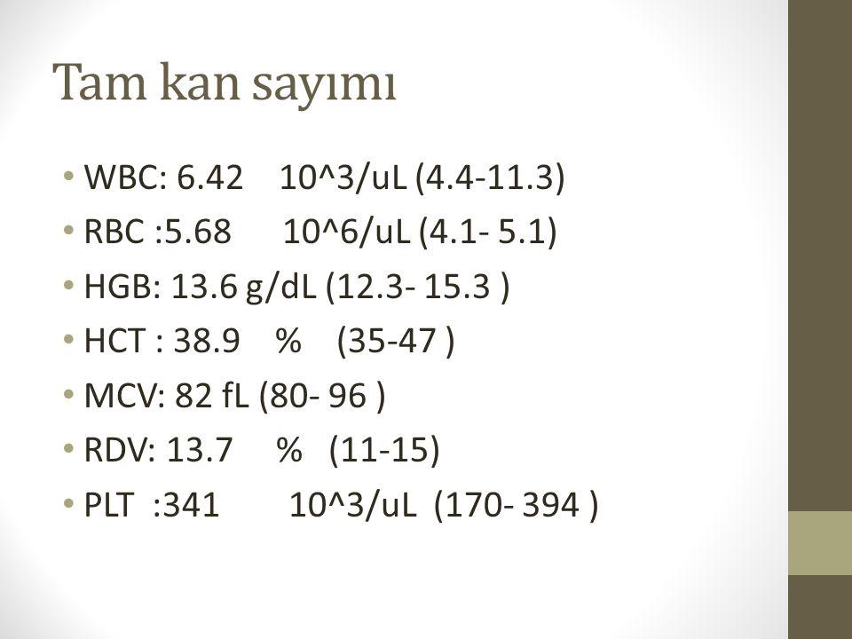 Tam kan sayımı WBC: 6.42 10^3/uL (4.4-11.3)