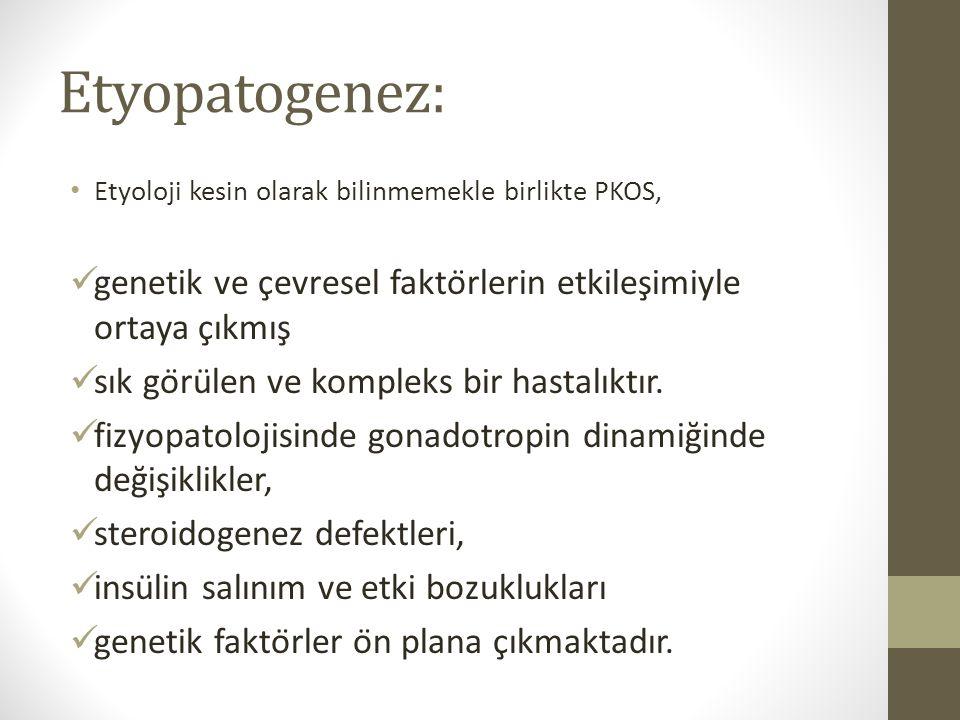 Etyopatogenez: Etyoloji kesin olarak bilinmemekle birlikte PKOS, genetik ve çevresel faktörlerin etkileşimiyle ortaya çıkmış
