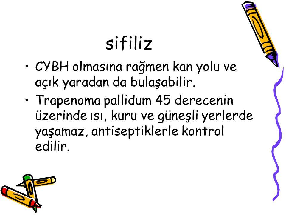sifiliz CYBH olmasına rağmen kan yolu ve açık yaradan da bulaşabilir.
