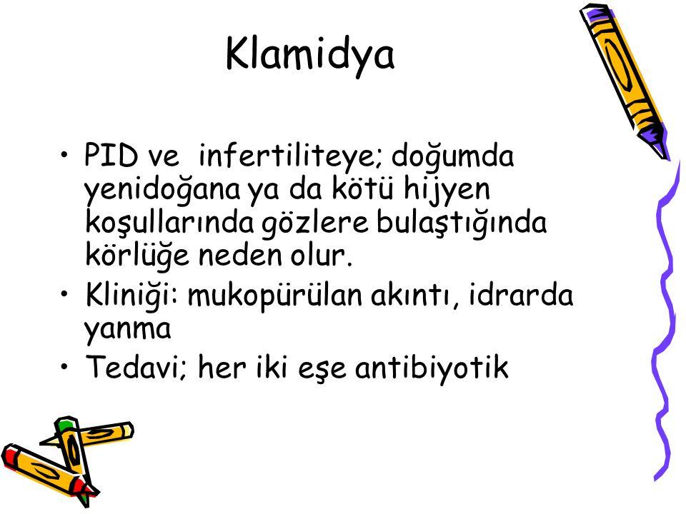 Klamidya PID ve infertiliteye; doğumda yenidoğana ya da kötü hijyen koşullarında gözlere bulaştığında körlüğe neden olur.