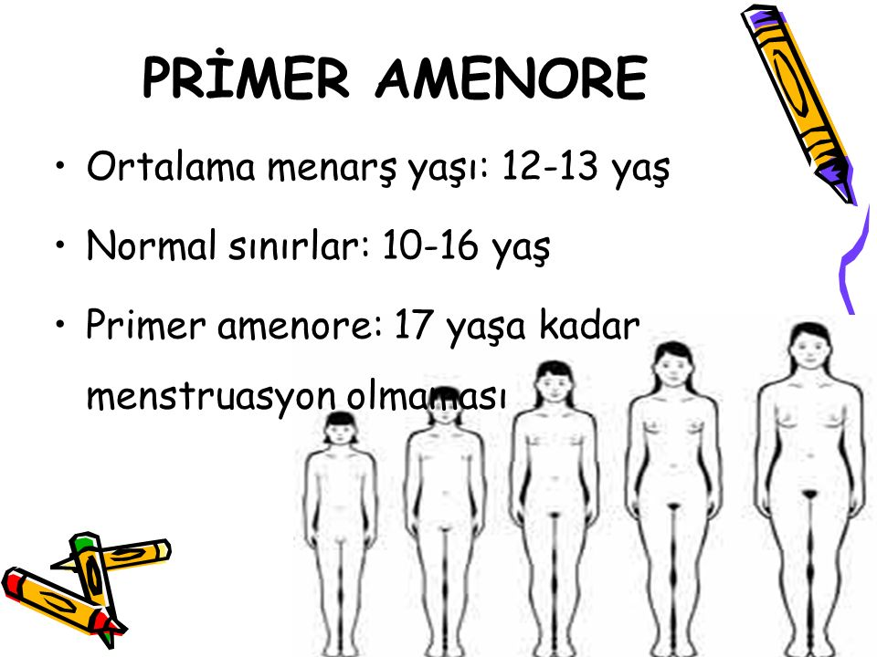 PRİMER AMENORE Ortalama menarş yaşı: 12-13 yaş