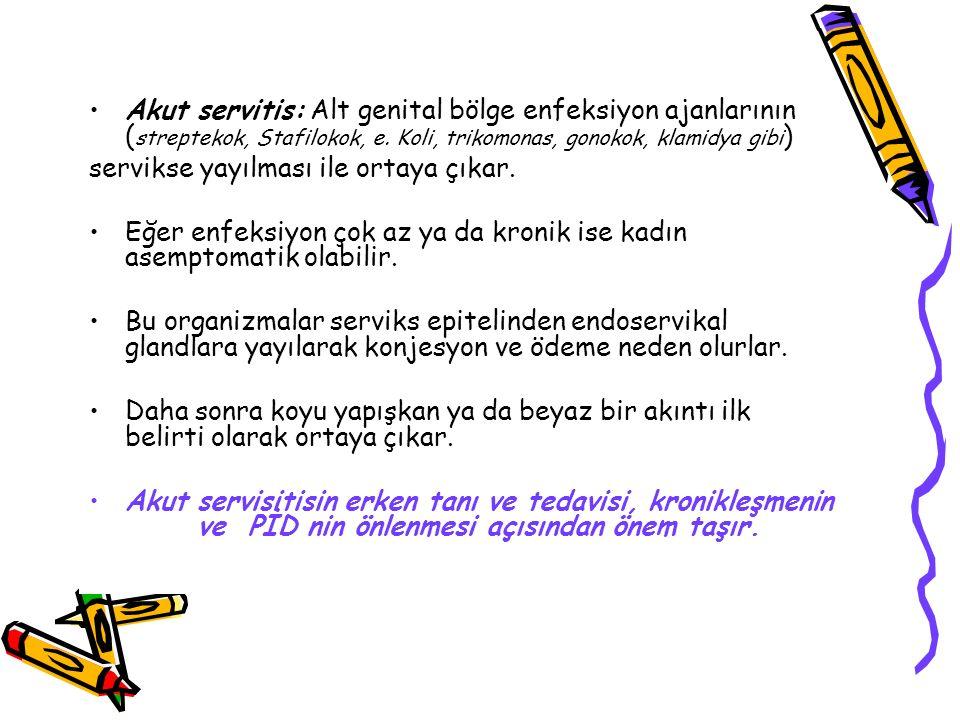 Akut servitis: Alt genital bölge enfeksiyon ajanlarının (streptekok, Stafilokok, e. Koli, trikomonas, gonokok, klamidya gibi)