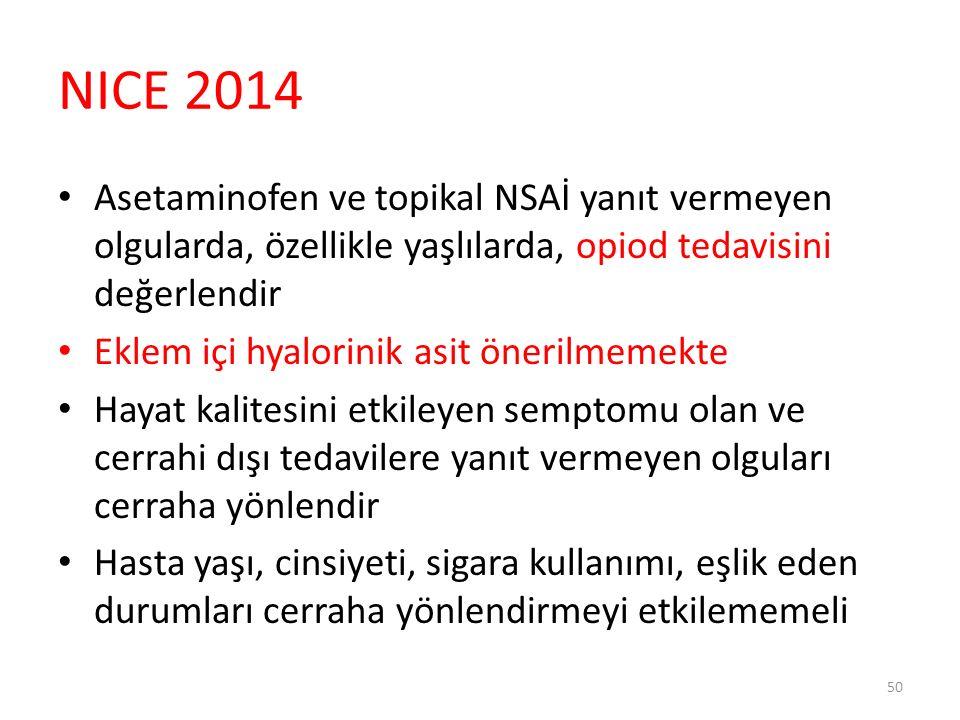 NICE 2014 OA için düzenli tedavi alan olguları yıllık olarak kontrole çağır