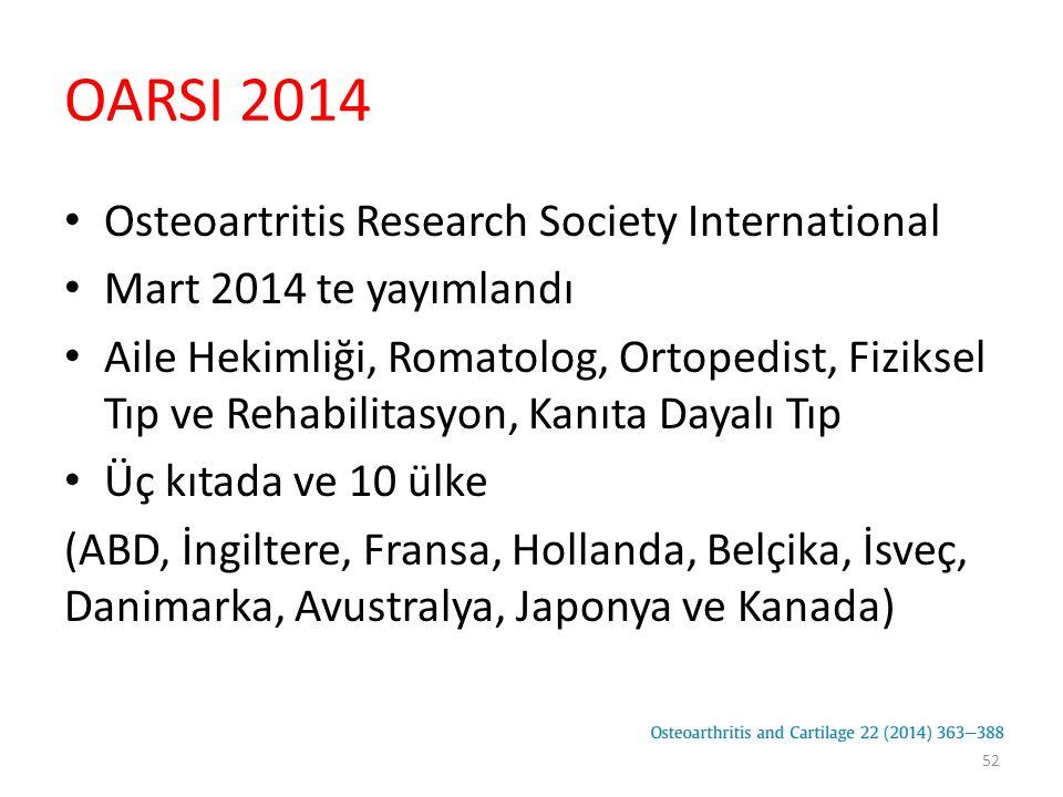 OARSI 2014 Sınıflama Eşlik eden durumlar Diz osteoartriti