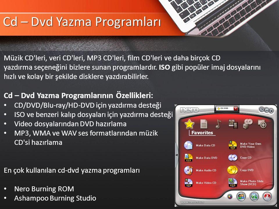 Cd – Dvd Yazma Programları