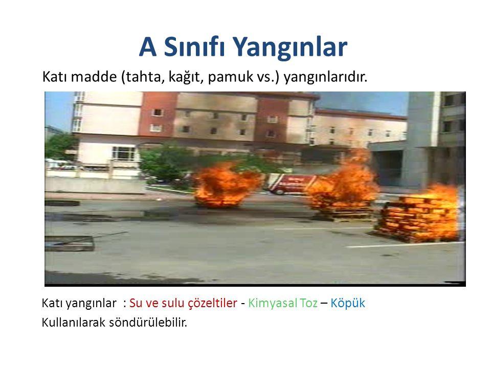A Sınıfı Yangınlar Katı madde (tahta, kağıt, pamuk vs.) yangınlarıdır.